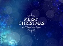 Merry christmas card with snowflakes and bokeh effect. Vector Royalty Free Stock Photos