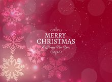 Merry christmas card with snowflakes and bokeh effect. Vector Royalty Free Stock Photo