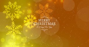 Merry christmas card with snowflakes and bokeh effect. Vector Stock Photography