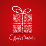 Merry christmas card with snowflakes gift Stock Images