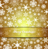 Merry Christmas Card Snowflakes - Gold Background Royalty Free Stock Photo