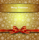 Merry Christmas Card Snowflakes - Gold Background Stock Image