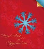Merry Christmas card with snowflakes Stock Photos