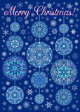 Merry Christmas Card Snowflakes Mandalas. Merry Christmas Card with Snowflakes on dark blue background. Mandala decorative xmas balls and beads. Vector snow Stock Photography
