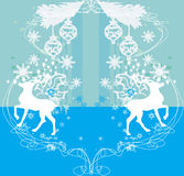 Merry Christmas card with snowflakes and reindeers Royalty Free Stock Image