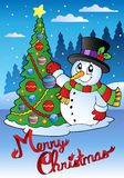 Merry Christmas card with snowman 1 Stock Photos