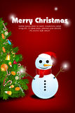 Merry christmas card with snowman. Illustration of merry christmas card with snowman on white background Stock Photos