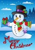 Merry Christmas card with snowman 2. Vector illustration Royalty Free Stock Photos