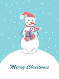 Merry Christmas card with snowman. Stock Photos