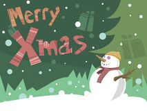 Merry Christmas Card with snowman. Merry Christmas Card with Happy snowman illustration. Merry Xmas text stock illustration