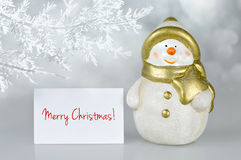 Merry Christmas card and Snowman Royalty Free Stock Photography