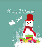 Merry christmas card with snowman and gift Stock Image