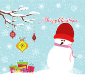 Merry christmas card with snowman and gift Royalty Free Stock Photos