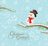 Merry christmas card with snowman Stock Images