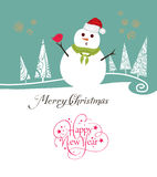 Merry christmas card with snowman Royalty Free Stock Image