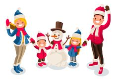 Merry christmas card snowman happy nwe year. Merry Christmas card with snowman. Happy new year illustration. Family of isometric people cartoon. Winter flat Stock Photos
