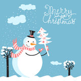 Merry Christmas card with snowman. And christmas tree Stock Image