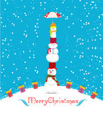 Merry christmas card with snowmans and umbrella Royalty Free Stock Images