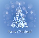 Merry Christmas Card with snowy christmas tree. Stock Photography