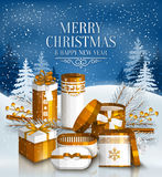Merry Christmas card. Snowy landscape. Vector. Merry Christmas card with pile of white and golden wrapped gift boxes, fir branches and yellow berries. Snowy Royalty Free Stock Photos
