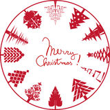 Merry christmas card stamp Stock Photos