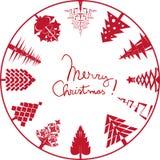 Merry christmas card stamp Stock Photos