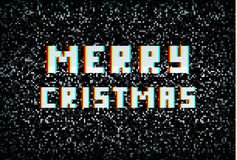 Merry Christmas card, technology concept, pixel typography Stock Image
