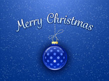 Merry Christmas card. Template. Christmas bauble on blue background with snowflakes. Vector illustration Stock Photo