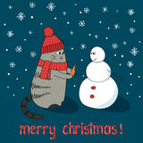 Merry Christmas card template. Cute cartoon cat and snowman Stock Images