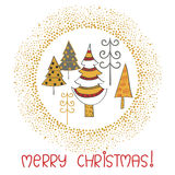 Merry Christmas card template with cute doodle fir trees Stock Photos