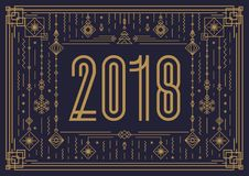 Merry Christmas card template with sign 2018 and new year toy gold art deco style. On black background for poster, greeting card, invitation, party, flyer Royalty Free Stock Photos