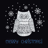 Merry Christmas card template with sparkling owl and snowflakes. Stock Image