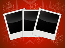 Merry Christmas card templates with blank photo frames vector illustration