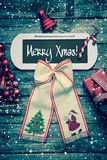 Merry christmas card with text - decoration in vintage style. Merry christmas card with text - decoration in vintage style in red, green and white Stock Images