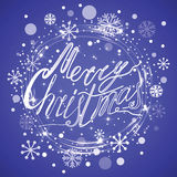Merry Christmas card with text, snow, glittering snowflake, ice round frame Stock Image