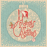 Merry Christmas card with text.Vintage greeting il Royalty Free Stock Images