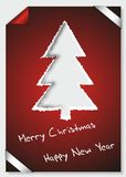 Merry Christmas card of torn paper Stock Photo