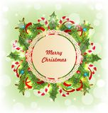 Merry Christmas Card with Traditional Decoration Stock Photo