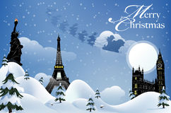 Merry Christmas. Card for a  Travel Agency Royalty Free Stock Images