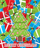 Merry Christmas card with tree and gifts Stock Photos