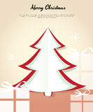 Merry Christmas card with a tree and gifts. Royalty Free Stock Photos