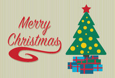 Merry christmas card with a tree and gifts. Stock Photos