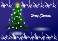 Merry Christmas. Christmas card with tree and lights vector illustration