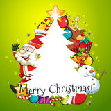 Merry Christmas card with tree and Santa Royalty Free Stock Photography