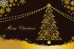 Merry christmas card, tree shape. Black and gold color Royalty Free Stock Images