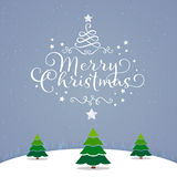 Merry christmas card  tree sky star Stock Images