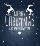 Merry christmas card  tree sky star Royalty Free Stock Image