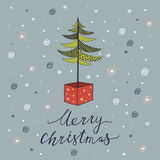 Merry Christmas card with tree. Merry Christmas vintage design greeting card background with tree, vector illustration royalty free illustration