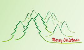 Merry christmas card with trees Royalty Free Stock Image