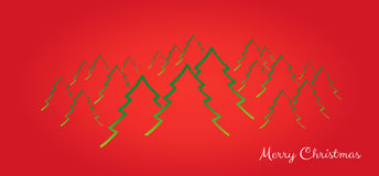 Merry christmas card with trees Royalty Free Stock Photography